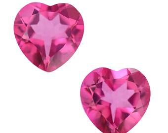 Mystic Pink Topaz Set of 2 Heart Cut Loose Gemstones 1A Quality 7mm TGW 2.45 cts.