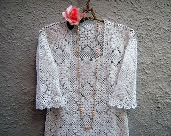 Crochet sweater for summer-romantic Blouse boho chic-fashion women white lace bohemian Clothing-Spring-Done in crochet