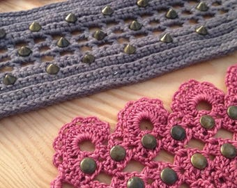 Bracelets/wrist band crochet and handmade studs