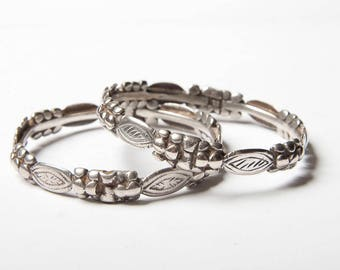 A pair of vintage hand made Southern Moroccan, silver Saharawi bangles from Morocco,