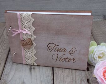 Guest book 'beech heart' - Hochzeit, Wedding, wedding decoration, wedding accessoires, wintage