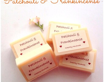 Handmade soap, Patchouli and Frankincense fragrance, with moisturising Shea better, SLS and Paraben free