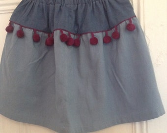Girls pom-pom skirt In 100pecent cotton, hand dyed, hand sewn, colour block, pastel colours