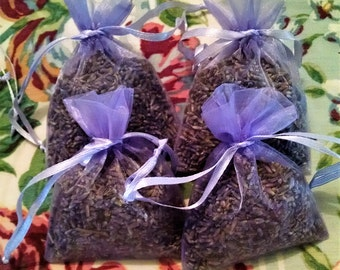 "1, 2 or 4 Lavender Sachets 3 x 4"" . Wedding favors. Bridal shower, Baby shower. Organza lavender sachets"