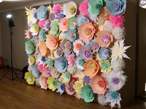 Paper Flower Wall Wedding Backdrop Paper Flower Backdrop