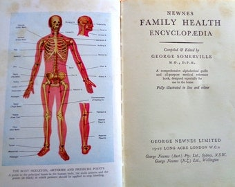 Vintage book Newnes Family Health Encyclopedia medical reference advice book line and colour illustrations 1950s orange hardback book 287