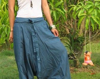 Harem Pants Women Baggy Pants Aladdin Yoga Pants Harem Baggy Pants Men Gypsy Pants Harem Boho Pants * HL - blue