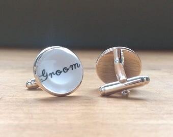 Silver Groom cabochon cufflinks