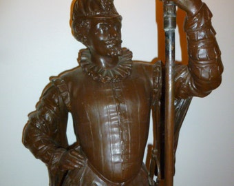 Antique French large spelter bronze patina HENRI II torch lamp circa 1900