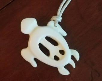 Peace Turtle carved bone pendant-peace-turtle- bone jewelry-turtle necklace-ocean jewelry