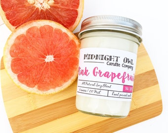 Pink Grapefruit Scented Candle 8oz or 16oz, refreshing, spring scent, - scented candle - Midnight Owl Candle Co.