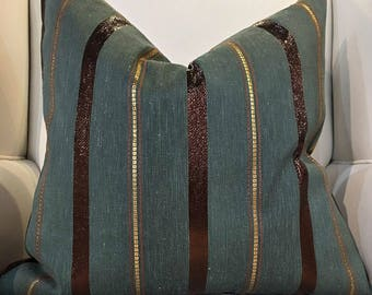 "Elegant Style Green Gold Brown Custom Pillow 22"" x 22"""