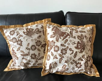 Indonesian Organic Hand-dyed Batik Pillow Cases, Set of Two, 16'×16'