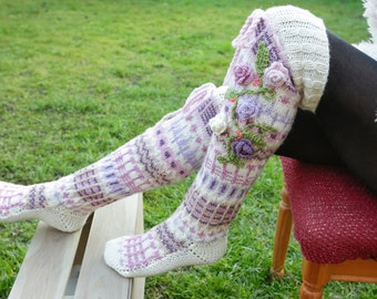 Pastel Thigh High Wool Socks, Hand knitted wool socks, Pastel colour handmade socks, Over the knee socks, Unique womens socks model pastel