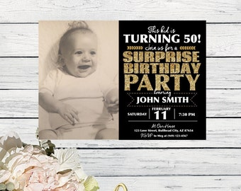 This Kid is turning....Surprise Party! Any Year Photo Birthday Personalized invitation-(INVITE-ThisKidGold)