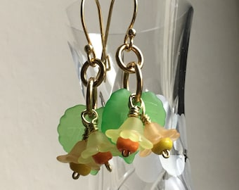 Jonquilles Earrings, Daffodil Earrings for St Davids Day or Mothers Day