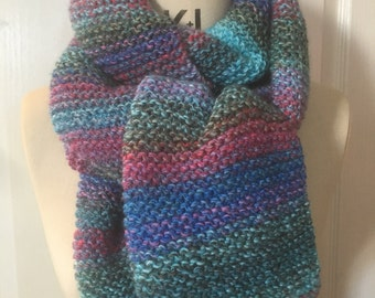Turquoise, Blue, Green & Pink Ombre Chunky Knitted Scarf