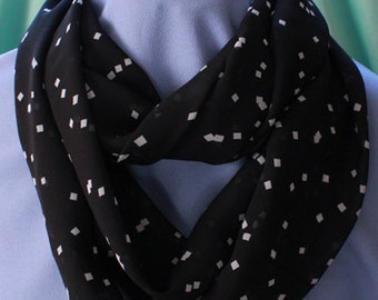 Infinity Scarf, Black with White Squares, Chiffon