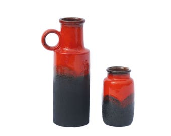 Fat Lava Red Pottery Vases Set