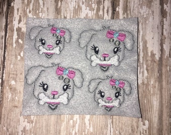 Set of 4 Posh Puppy with Bone Dog Head Face  Girly Animal Feltie Felt Embellishment Bow! Birthday Party Decoration Felties Planner Clip