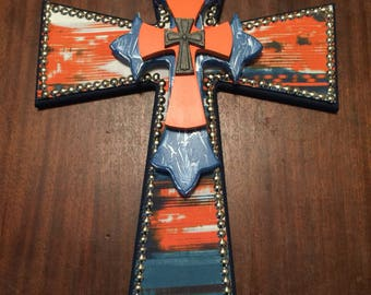 24 inch orange and blue fabric cross