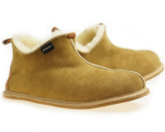Mens Sheepskin Shearling Slippers Moccasin Boots For Men House