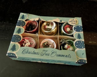 Vintage Christmas Tree Ornaments in Box - Shiny-Brite - Six Holiday Decorations 3 D Style Indented