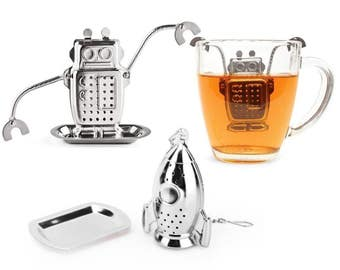 10 set Robot /or Rocket Tea Strainer, Stainless Steel Tea Infuser with Saucer - Wedding Favors, Party, Gifts - Restaurant, Cafe Tableware
