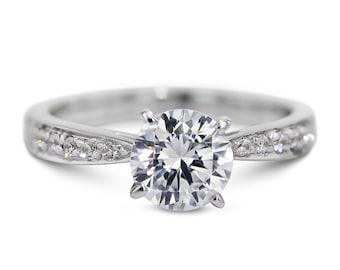 Diamond Engagement Ring 14K White Gold 1.68 Carat Round Brilliant  D/SI1  #J73201 FREE SHIPPING