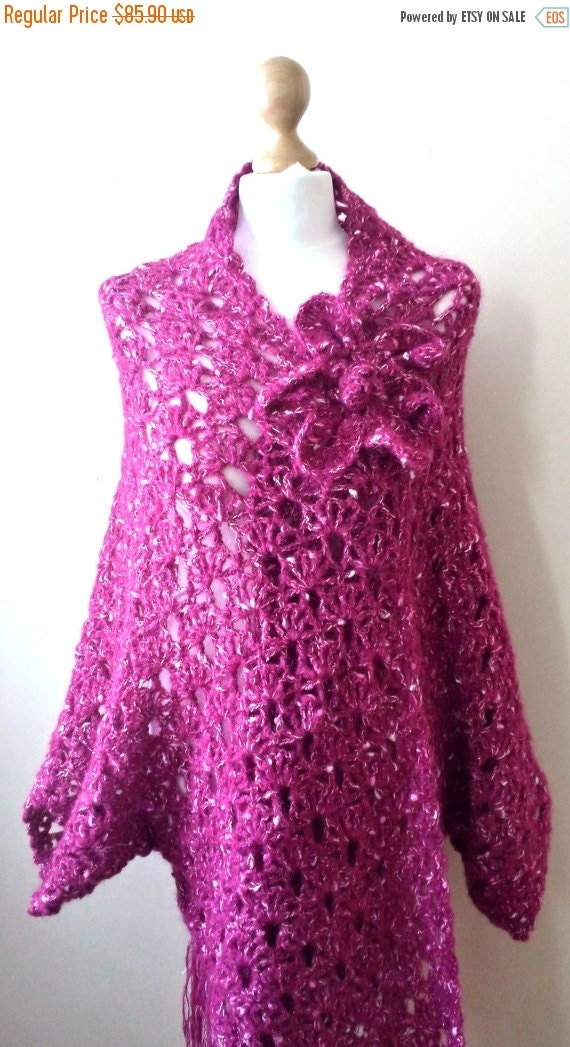 SALE 70% Off Liquidation Hand Knitted Cardigan, hand crochet Poncho with Flower Brooch, Fuchsia colour, oversized women cardigan, poncho
