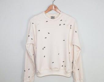 Organic Sweatshirt, Pattern Raglan, Screen printed, Handmade in Detroit, Ants pattern, Raglan, Natural Cotton and Black, Fun Clothing
