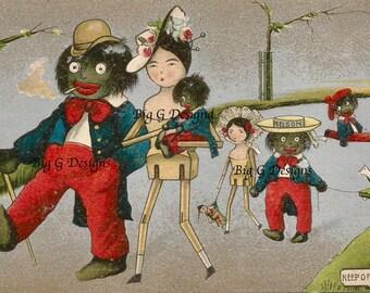 Antique Golliwog toys black memorabilia postcard digital download printable instant image