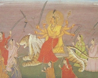 The Goddess Durga seated upon a lion ... Indian Miniature Painting printed reproduction, 2000.
