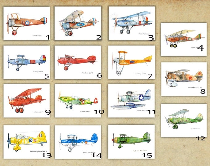 Airplane decor ANY set of large prints Custom choice posters Vintage military airplanes art for boys Boys nursery wall art Transportation