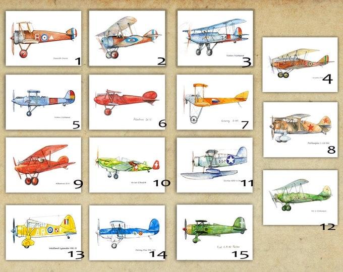 Airplane decor ANY set of large prints Custom choice posters Vintage military airplanes art for boys Boys nursery wall art Transportation