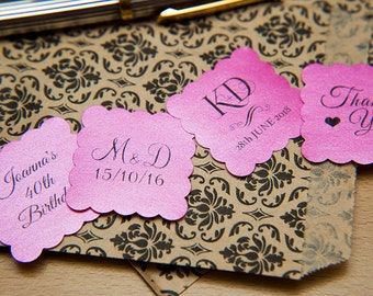 """50 Fuschia Pink Pearlised 1.5 inch Square Shiny Stickers, Envelope Seals. Custom Stickers. 1.5"""" Save the date stickers. Invitation Seals."""