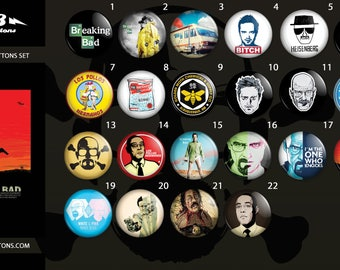 Breaking Bad buttons collection / / collection of plates Breaking Bad