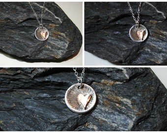 Sterling Silver textured disc with copper heart on sterling silver chain