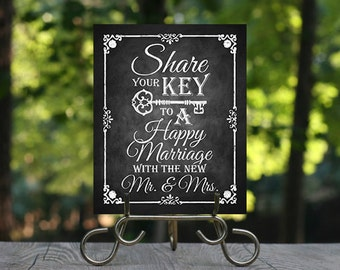 Share your Key to a Happy Marriage Printable Chalkboard Wedding Advice Sign, Mr. and Mrs. Wedding Advice, Marriage Advice Sign, Rustic Sign