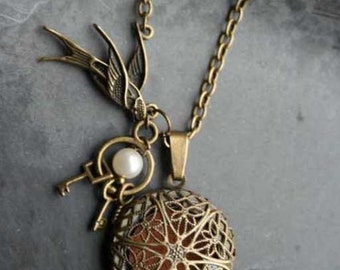 Antique Bronze Filligree Pendant Necklace, Bird, Pearl, Keys, Antique Bronze chain, Necklace, UK coloursofcalm colour of calm nickle free