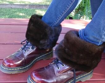 "handmade dark brown mink boot toppers, coat cuffs, ranch mink, real fur, recycled fur, reclaim fur, 15"""