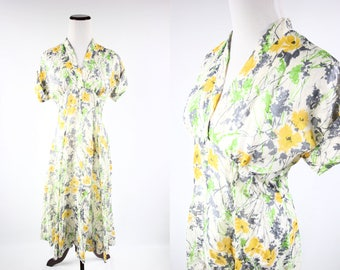 1940's Silk Floral Empire-waist Dress