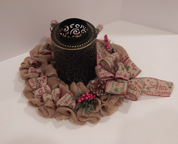 Christmas centerpiece burlap wired ribbon holiday