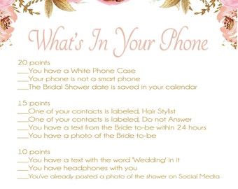 What's In your Phone Bridal Shower , Pink and Gold Bridal Shower Games , Pink and Gold Glitter