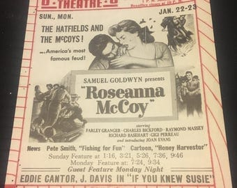 Original 1950 Movie Poster Theatre Herald Roseanna McCoy, Yes Sir That's My Baby, White Heat, Zamba, Masked Raiders, James Cagney, Cowboy