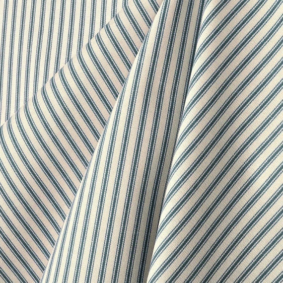 Cotton Small Stripe Ticking Fabric by the Yard Designer