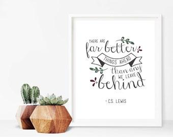 C.S. Lewis New Beginnings Quote Sign Digital Print