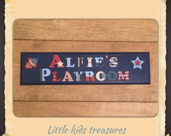 X LARGE Childrens hand made wooden name plaques / door signs. Boys Personalised up to 12 letters - Little kids treasures