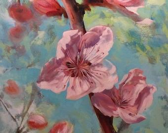 Large Art, Original Oil Painting, Peach Blossoms, wall art, 30x40