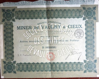 Three Old French Share Certificates (Actions). Dated 1916, 1925 and 1928. (Scripophily).